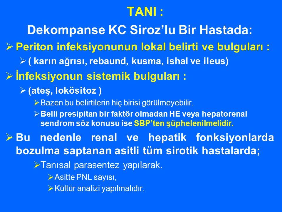 TANI : Dekompanse KC Siroz'lu Bir Hastada:  Periton infeksiyonunun lokal belirti ve bulguları :  ( karın ağrısı, rebaund, kusma, ishal ve ileus)  İ