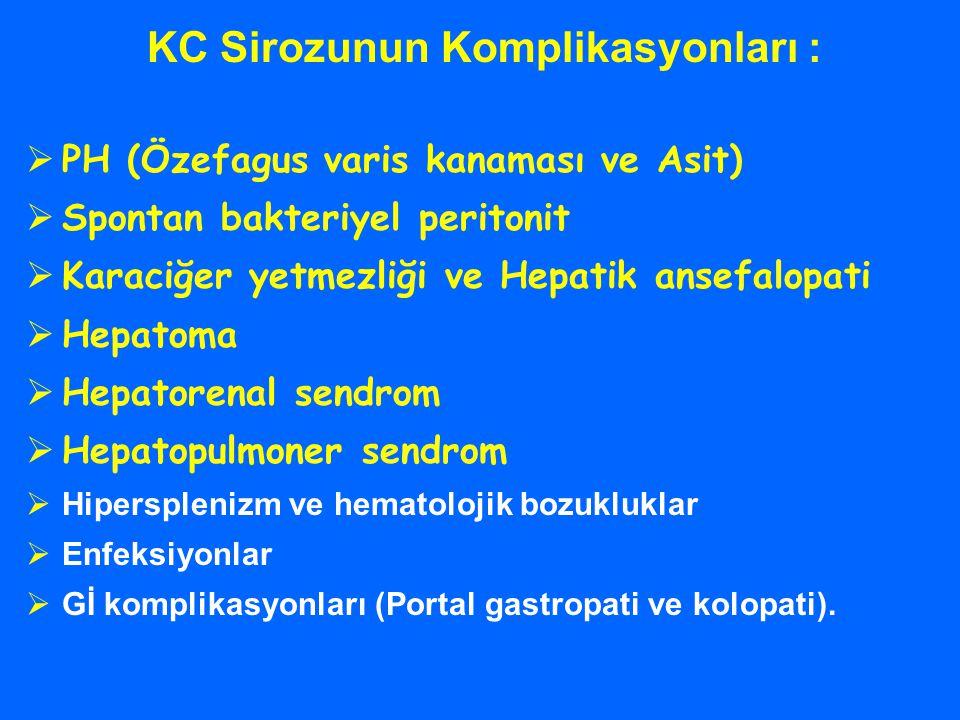 KC Sirozunun Komplikasyonları :  PH (Özefagus varis kanaması ve Asit)  Spontan bakteriyel peritonit  Karaciğer yetmezliği ve Hepatik ansefalopati 