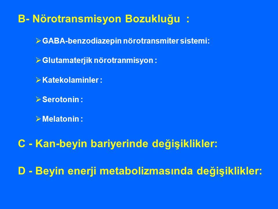 B- Nörotransmisyon Bozukluğu :  GABA-benzodiazepin nörotransmiter sistemi:  Glutamaterjik nörotranmisyon :  Katekolaminler :  Serotonin :  Melato