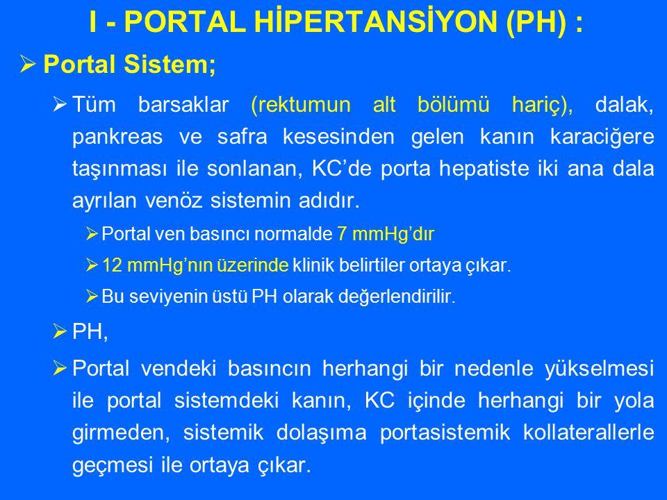 I - PORTAL HİPERTANSİYON (PH) :  Portal Sistem;  Tüm barsaklar (rektumun alt bölümü hariç), dalak, pankreas ve safra kesesinden gelen kanın karaciğe