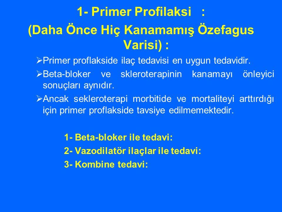 1- Primer Profilaksi : (Daha Önce Hiç Kanamamış Özefagus Varisi) :  Primer proflakside ilaç tedavisi en uygun tedavidir.  Beta-bloker ve skleroterap