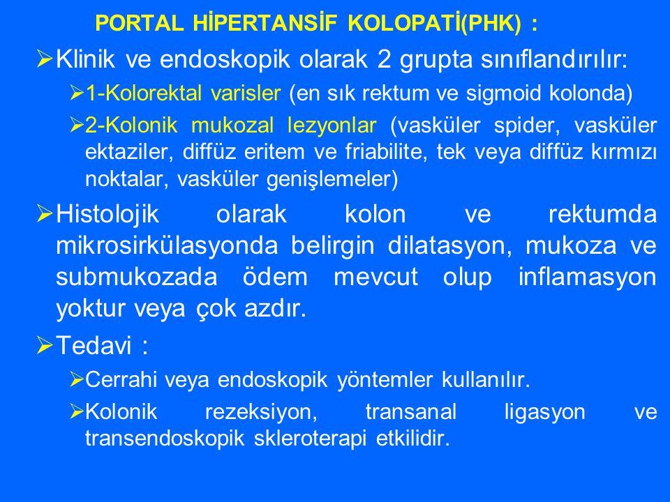 PORTAL HİPERTANSİF KOLOPATİ(PHK) :  Klinik ve endoskopik olarak 2 grupta sınıflandırılır:  1-Kolorektal varisler (en sık rektum ve sigmoid kolonda)