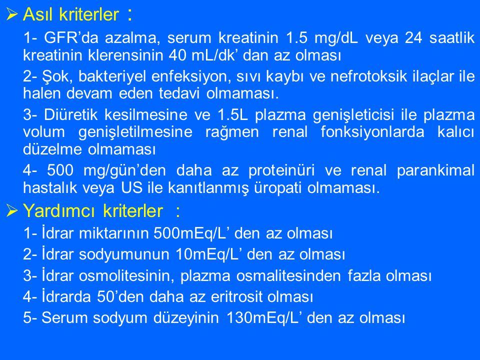  Asıl kriterler : 1- GFR'da azalma, serum kreatinin 1.5 mg/dL veya 24 saatlik kreatinin klerensinin 40 mL/dk' dan az olması 2- Şok, bakteriyel enfeks