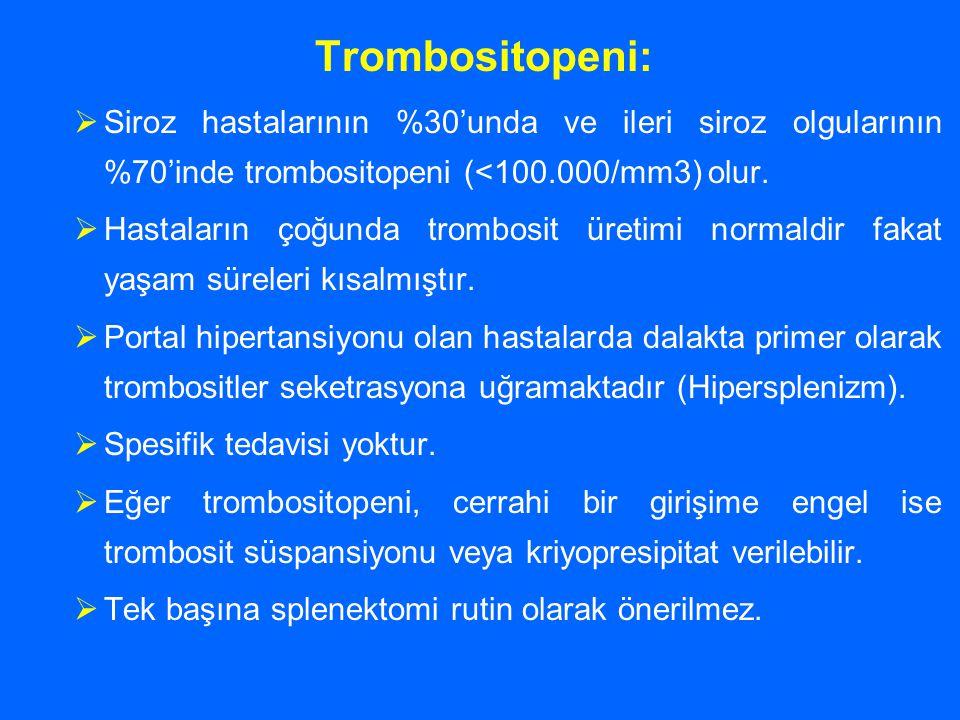 Trombositopeni:  Siroz hastalarının %30'unda ve ileri siroz olgularının %70'inde trombositopeni (<100.000/mm3) olur.  Hastaların çoğunda trombosit ü