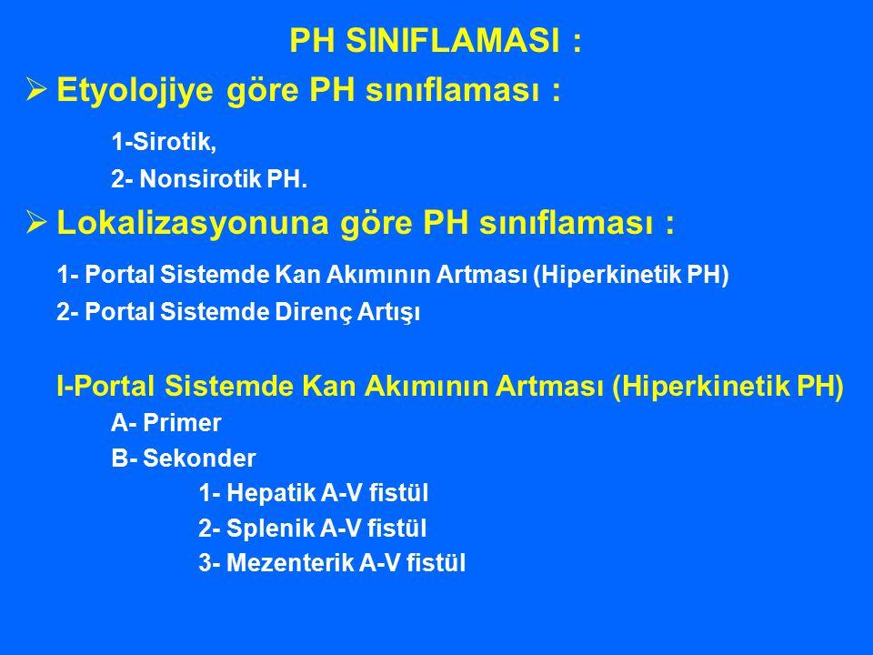 PH SINIFLAMASI :  Etyolojiye göre PH sınıflaması : 1-Sirotik, 2- Nonsirotik PH.  Lokalizasyonuna göre PH sınıflaması : 1- Portal Sistemde Kan Akımın