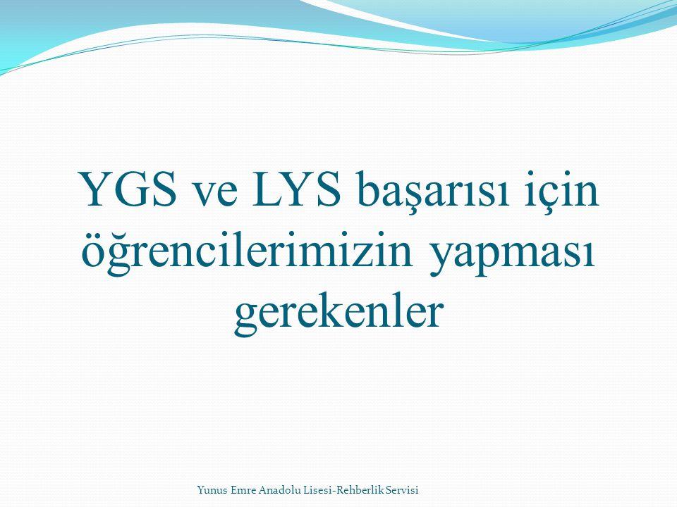 YGS ve LYS başarısı için öğrencilerimizin yapması gerekenler Yunus Emre Anadolu Lisesi-Rehberlik Servisi