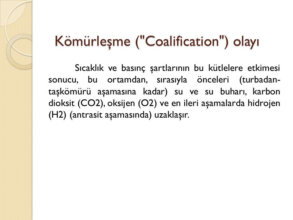 Kömürleşme ( Coalification ) olayı Sıcaklık ve basınç şartlarının bu kütlelere etkimesi sonucu, bu ortamdan, sırasıyla önceleri (turbadan- taşkömürü aşamasına kadar) su ve su buharı, karbon dioksit (CO2), oksijen (O2) ve en ileri aşamalarda hidrojen (H2) (antrasit aşamasında) uzaklaşır.