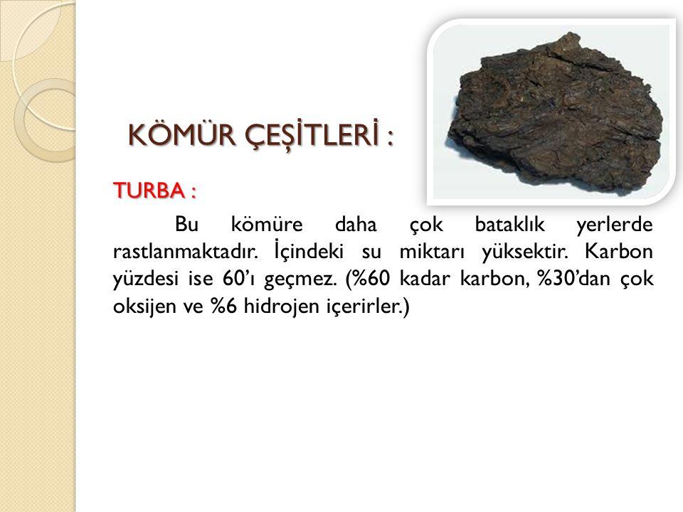 KÖMÜR ÇEŞ İ TLER İ : TURBA : Bu kömüre daha çok bataklık yerlerde rastlanmaktadır. İ çindeki su miktarı yüksektir. Karbon yüzdesi ise 60'ı geçmez. (%6