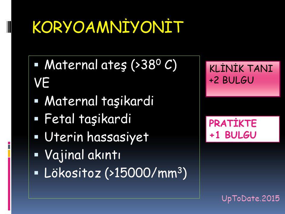  Maternal ateş (>38 0 C) VE  Maternal taşikardi  Fetal taşikardi  Uterin hassasiyet  Vajinal akıntı  Lökositoz (>15000/mm 3 ) KLİNİK TANI +2 BUL