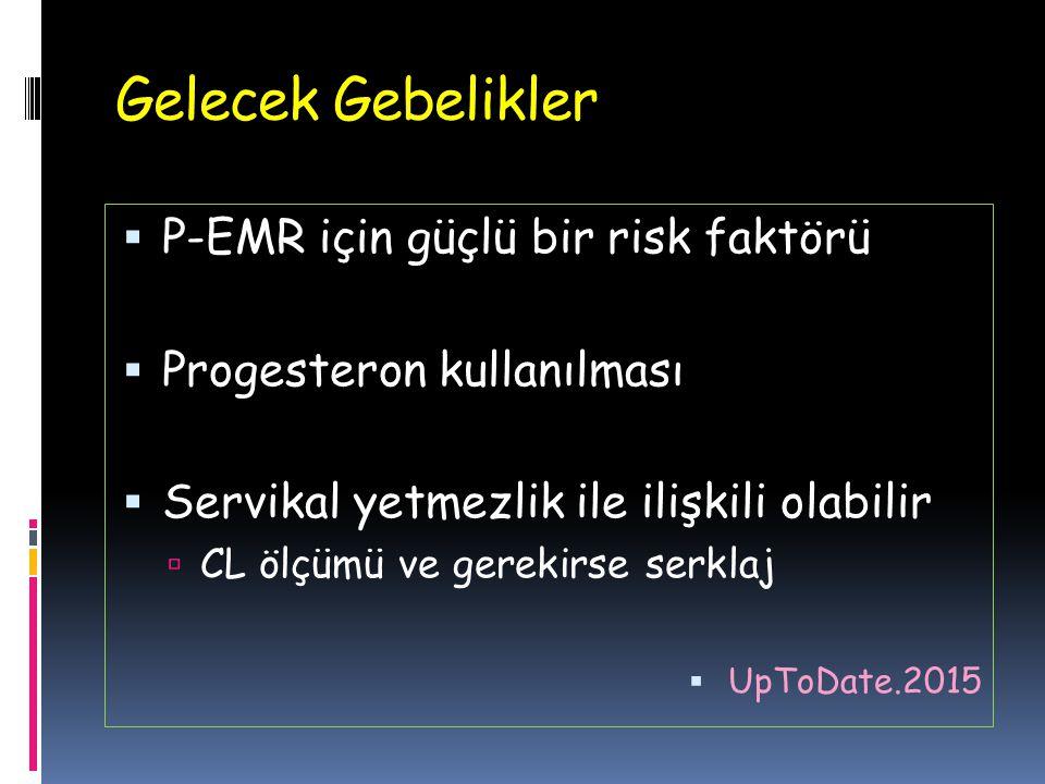 Gelecek Gebelikler  P-EMR için güçlü bir risk faktörü  Progesteron kullanılması  Servikal yetmezlik ile ilişkili olabilir  CL ölçümü ve gerekirse