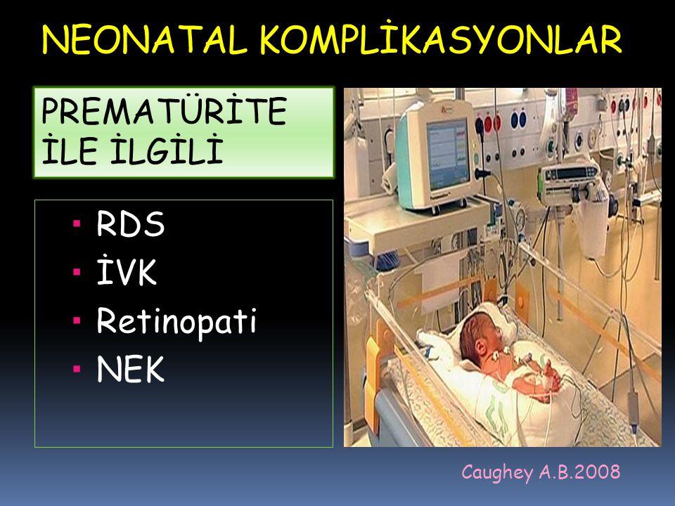NEONATAL KOMPLİKASYONLAR  RDS  İVK  Retinopati  NEK Caughey A.B.2008 PREMATÜRİTE İLE İLGİLİ