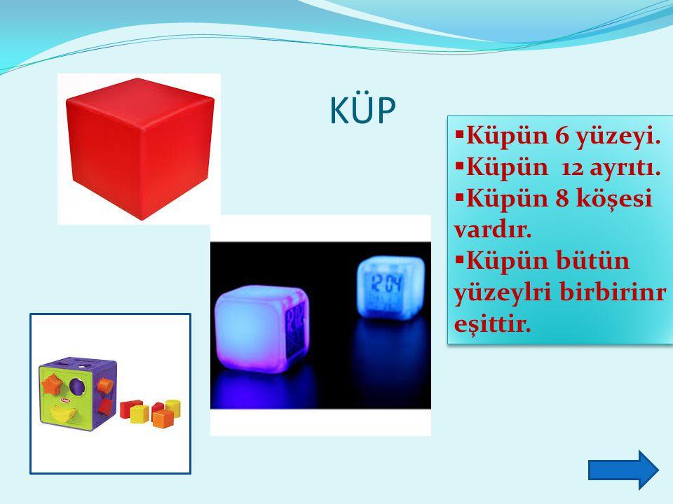 KÜP  Küpün 6 yüzeyi.  Küpün 12 ayrıtı.  Küpün 8 köşesi vardır.  Küpün bütün yüzeylri birbirinr eşittir.  Küpün 6 yüzeyi.  Küpün 12 ayrıtı.  Küp