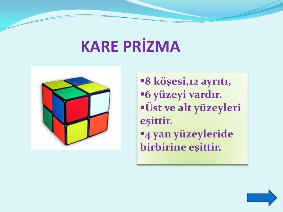 KARE PRİZMA  8 köşesi,12 ayrıtı,  6 yüzeyi vardır.  Üst ve alt yüzeyleri eşittir.  4 yan yüzeyleride birbirine eşittir.  8 köşesi,12 ayrıtı,  6