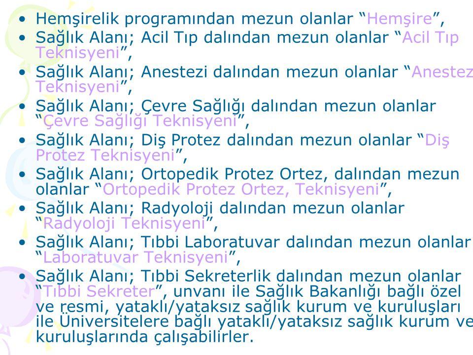 ANADOLU SAĞLIK ve SAĞLIK MESLEK LİSELERİ Türk Millî Eğitiminin genel, sağlık alanının özel amaçları doğrultusunda, ortaöğretim seviyesinde genel kültü