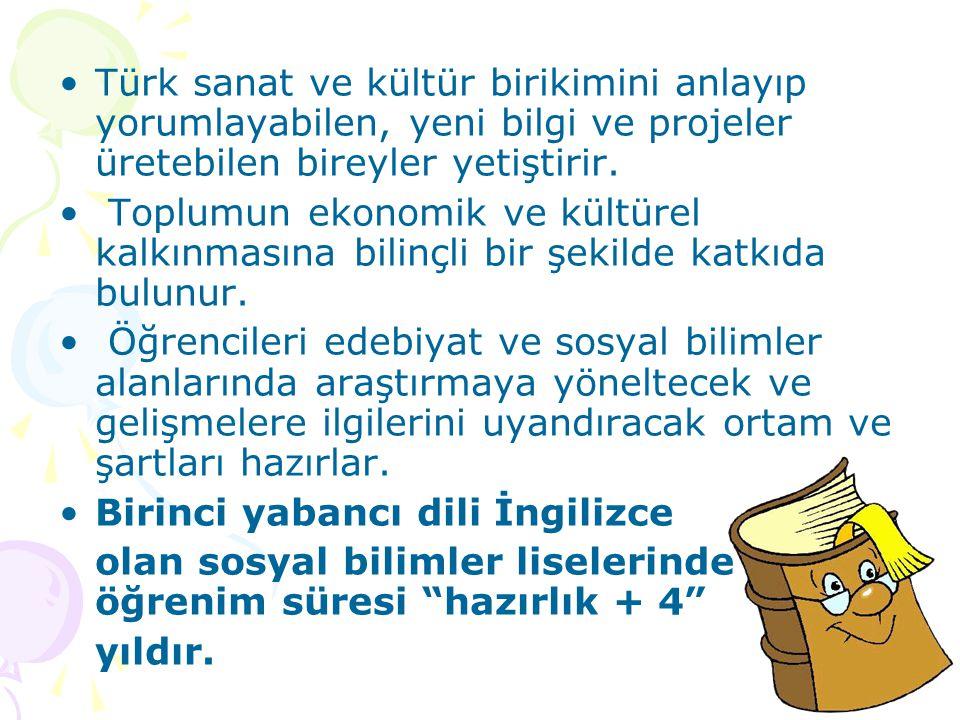 Türk sanat ve kültür birikimini anlayıp yorumlayabilen, yeni bilgi ve projeler üretebilen bireyler yetiştirir.