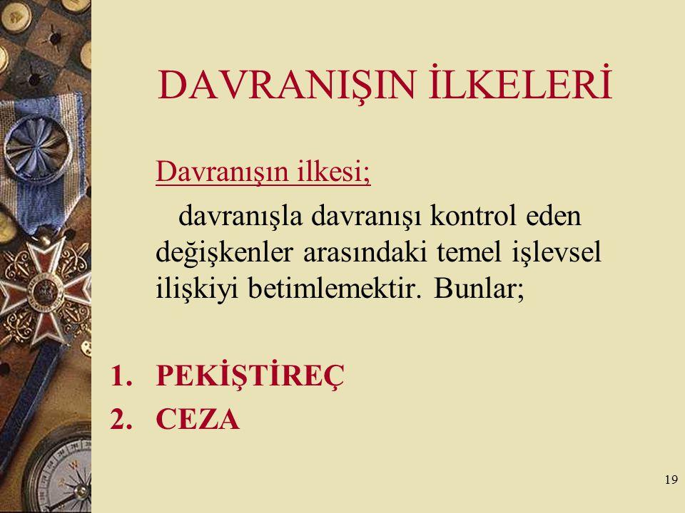 19 DAVRANIŞIN İLKELERİ Davranışın ilkesi; davranışla davranışı kontrol eden değişkenler arasındaki temel işlevsel ilişkiyi betimlemektir. Bunlar; 1.PE