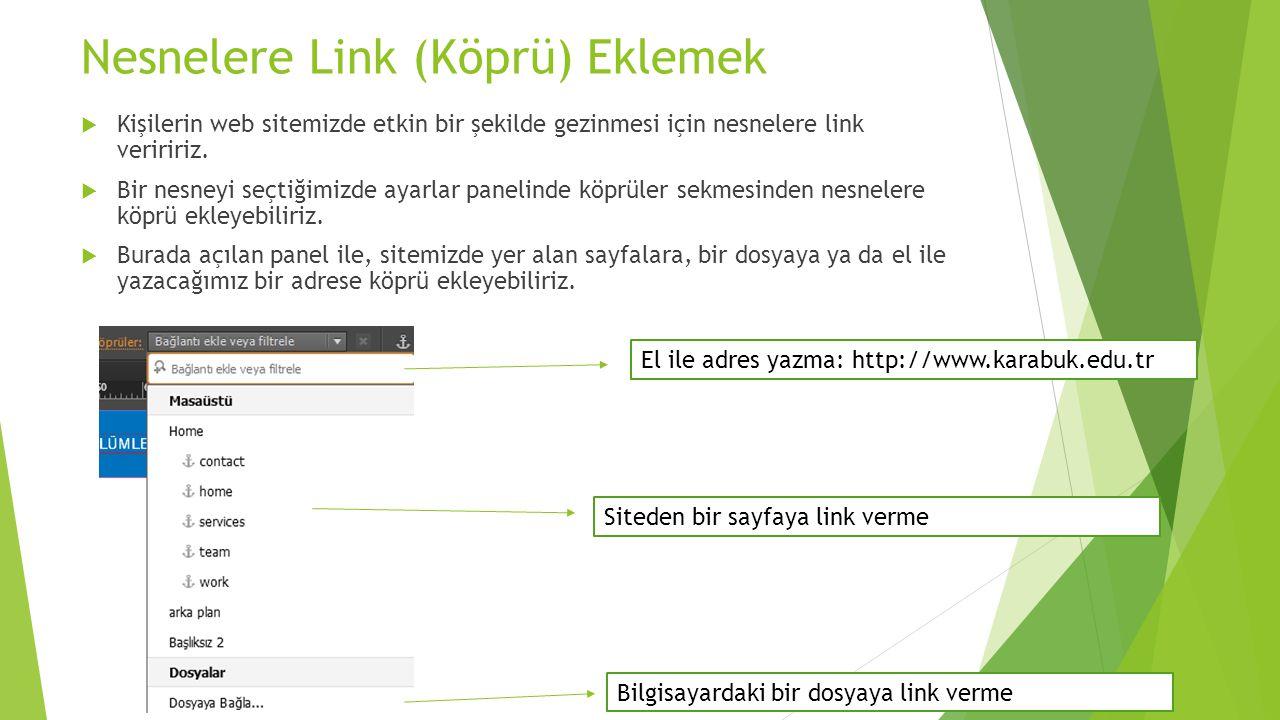 Nesnelere Link (Köprü) Eklemek  Kişilerin web sitemizde etkin bir şekilde gezinmesi için nesnelere link veriririz.