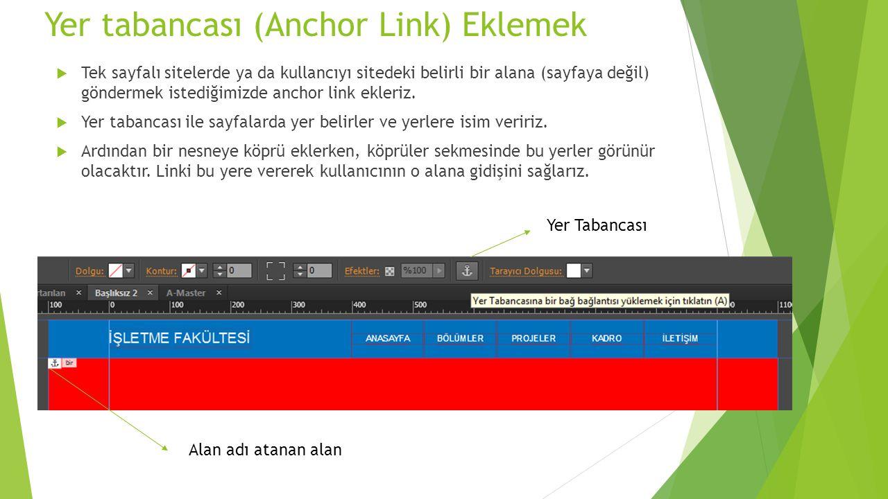 Yer tabancası (Anchor Link) Eklemek  Tek sayfalı sitelerde ya da kullancıyı sitedeki belirli bir alana (sayfaya değil) göndermek istediğimizde anchor link ekleriz.