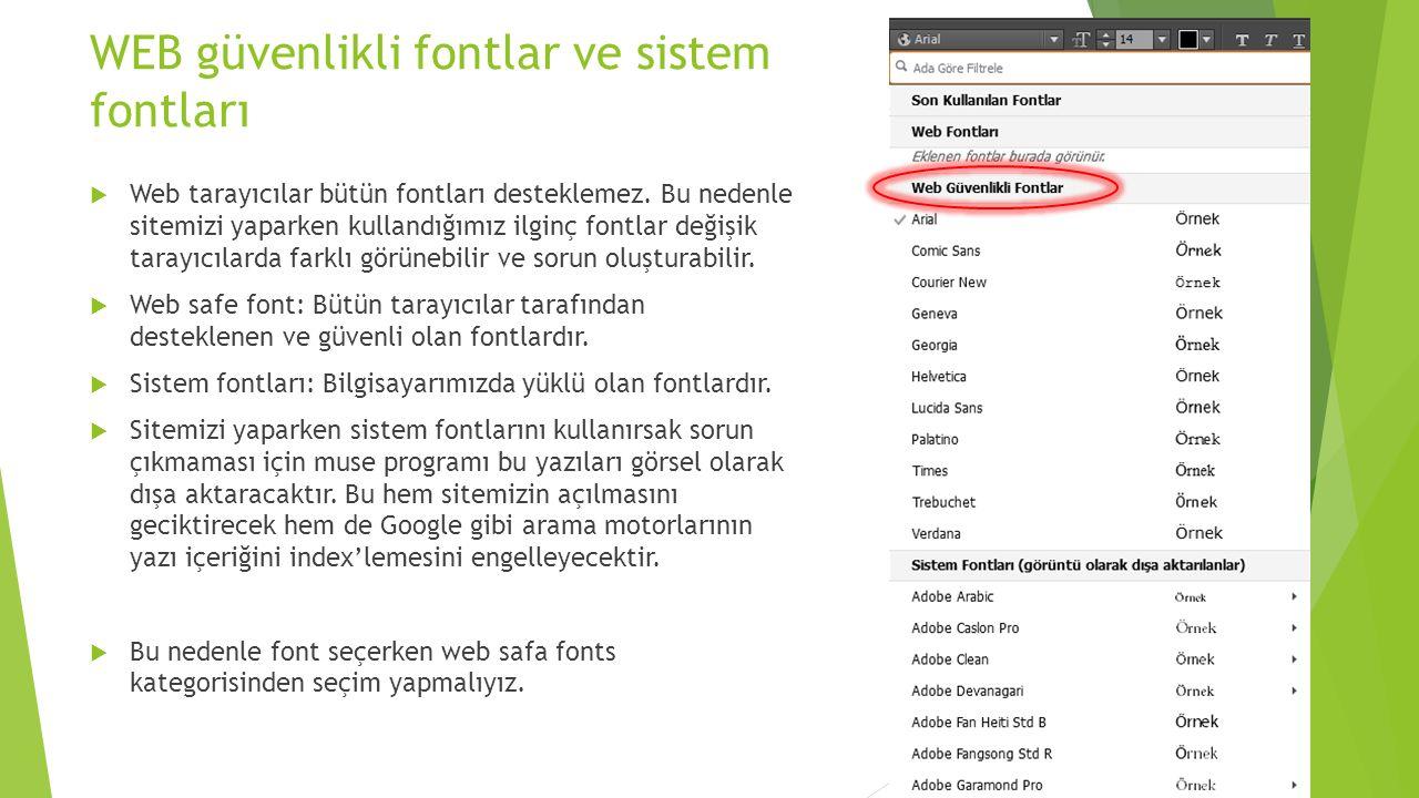 WEB güvenlikli fontlar ve sistem fontları  Web tarayıcılar bütün fontları desteklemez.