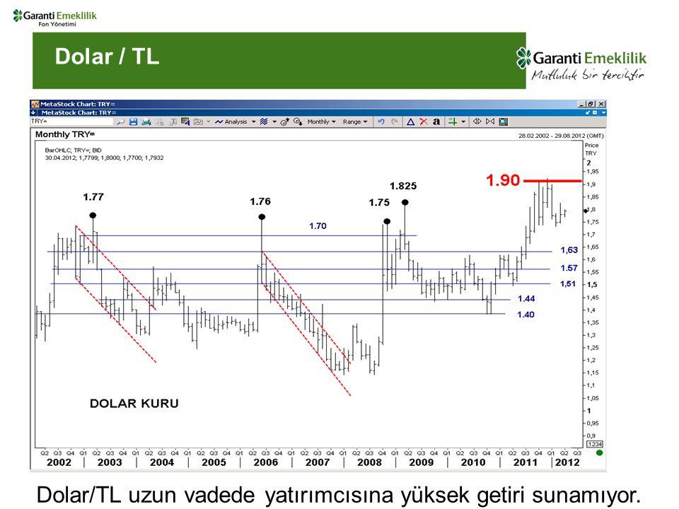 Dolar / TL Dolar/TL uzun vadede yatırımcısına yüksek getiri sunamıyor.