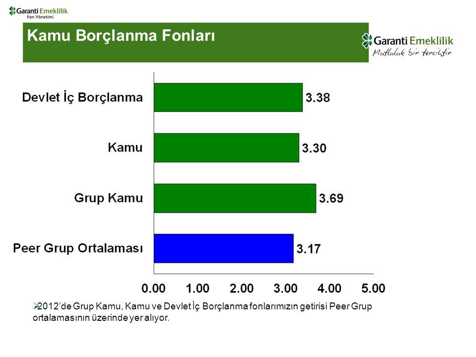 Kamu Borçlanma Fonları  2012'de Grup Kamu, Kamu ve Devlet İç Borçlanma fonlarımızın getirisi Peer Grup ortalamasının üzerinde yer alıyor.