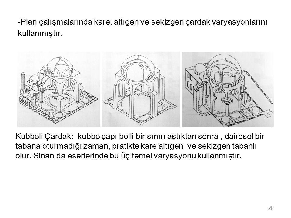 -Plan çalışmalarında kare, altıgen ve sekizgen çardak varyasyonlarını kullanmıştır. 28 Kubbeli Çardak: kubbe çapı belli bir sınırı aştıktan sonra, dai