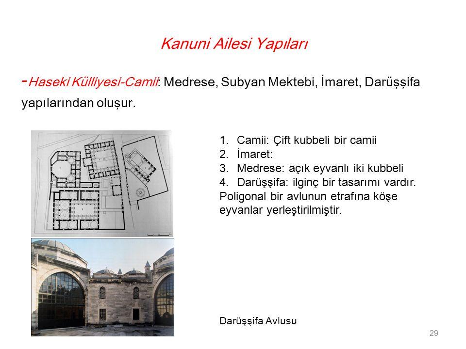 Kanuni Ailesi Yapıları - Haseki Külliyesi-Camii: Medrese, Subyan Mektebi, İmaret, Darüşşifa yapılarından oluşur. 29 1.Camii: Çift kubbeli bir camii 2.