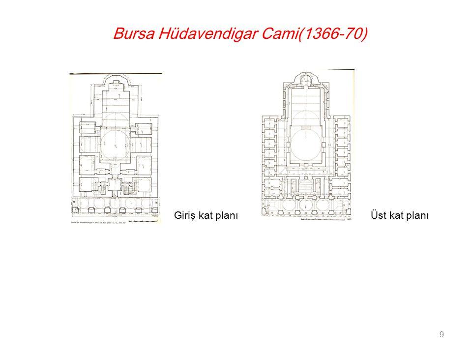 Bursa Hüdavendigar Cami(1366-70) Giriş kat planı 9 Üst kat planı