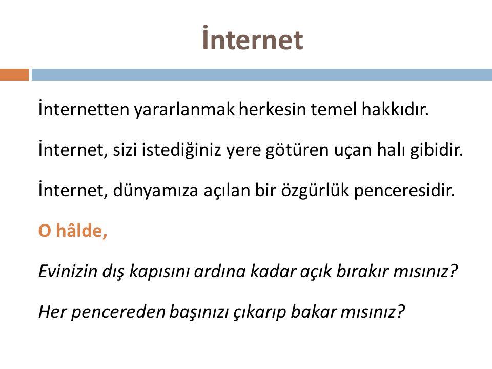 İnterneti En Çok Hangi Amaçlarla Kullanıyoruz?  Araştırma yapmak  Sohbet etmek  Sosyal paylaşım (facebook, twitter vb.) sitelerinde paylaşım yapmak