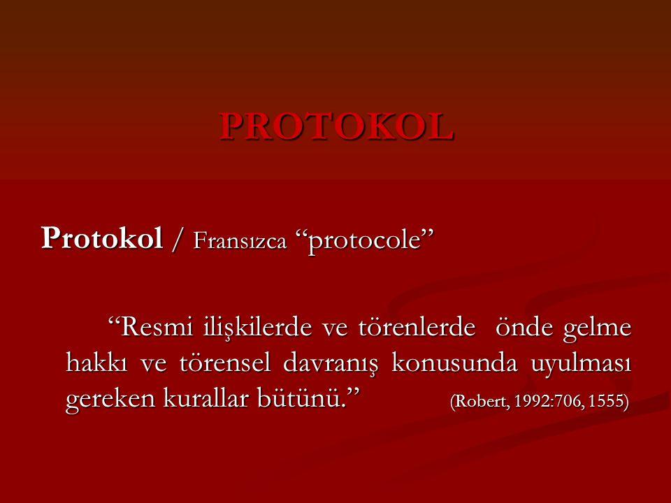 """PROTOKOL Protokol / Fransızca """"protocole"""" """"Resmi ilişkilerde ve törenlerde önde gelme hakkı ve törensel davranış konusunda uyulması gereken kurallar b"""