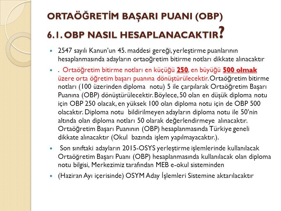 ORTAÖ Ğ RET İ M BAŞARI PUANI (OBP) 6.1. OBP NASIL HESAPLANACAKTIR .