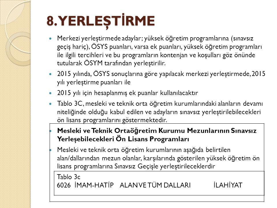 8. YERLEŞT İ RME Merkezi yerleştirmede adaylar; yüksek ö ğ retim programlarına (sınavsız geçiş hariç), ÖSYS puanları, varsa ek puanları, yüksek ö ğ re