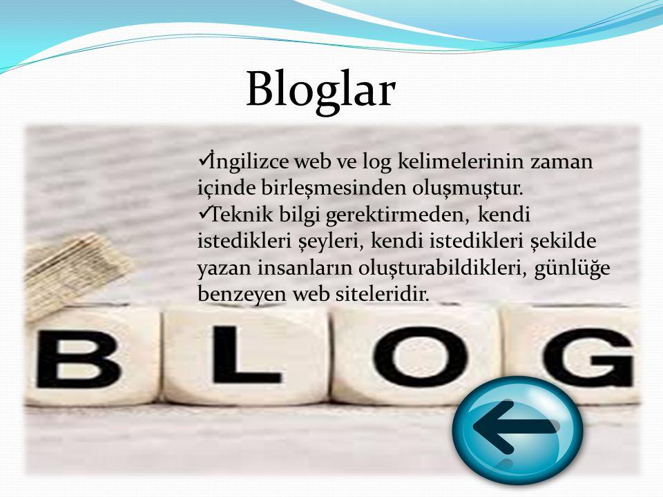Bloglar İngilizce web ve log kelimelerinin zaman içinde birleşmesinden oluşmuştur.