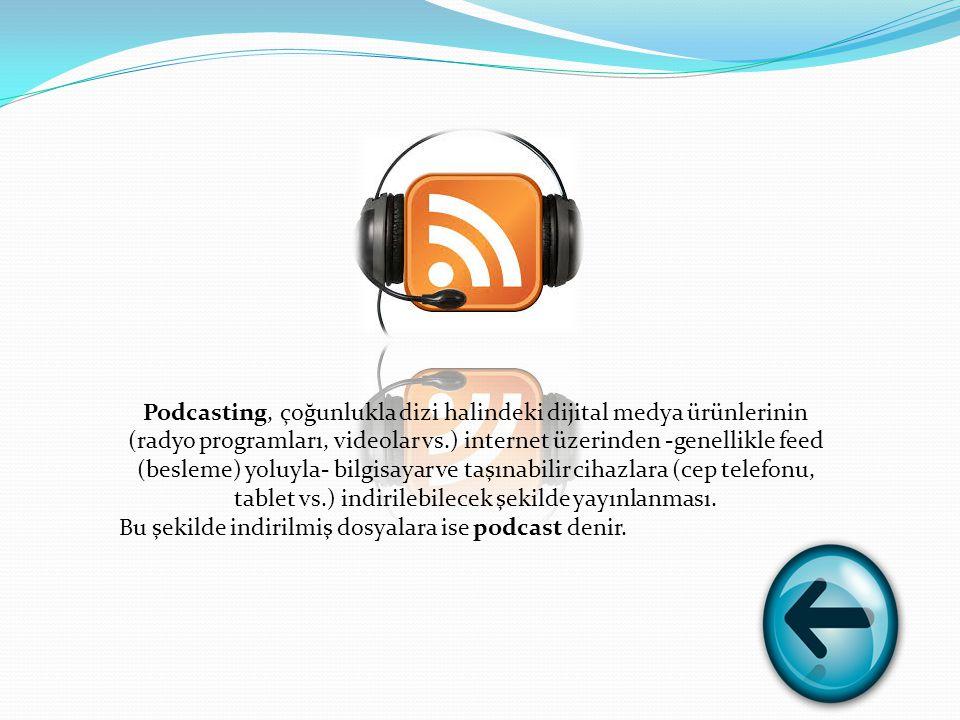 Podcasting, çoğunlukla dizi halindeki dijital medya ürünlerinin (radyo programları, videolar vs.) internet üzerinden -genellikle feed (besleme) yoluyla- bilgisayar ve taşınabilir cihazlara (cep telefonu, tablet vs.) indirilebilecek şekilde yayınlanması.