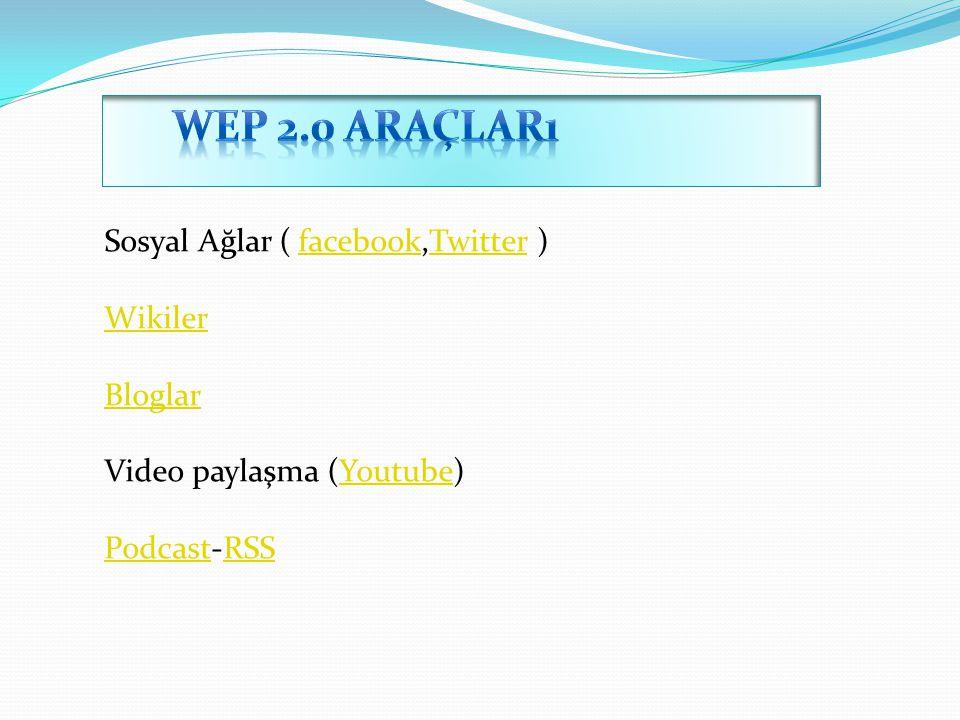 Sosyal Ağlar ( facebook,Twitter )facebookTwitter Wikiler Bloglar Video paylaşma (Youtube)Youtube PodcastPodcast-RSSRSS