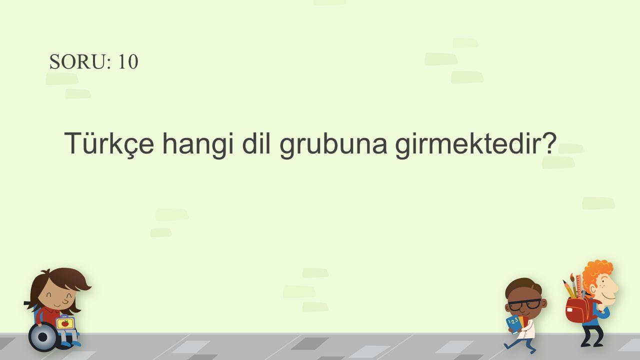 SORU: 10 Türkçe hangi dil grubuna girmektedir?