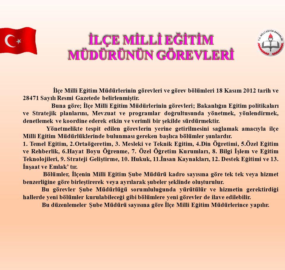 İlçe Milli Eğitim Müdürlerinin görevleri ve görev bölümleri 18 Kasım 2012 tarih ve 28471 Sayılı Resmi Gazetede belirlenmiştir. Buna göre; İlçe Milli E