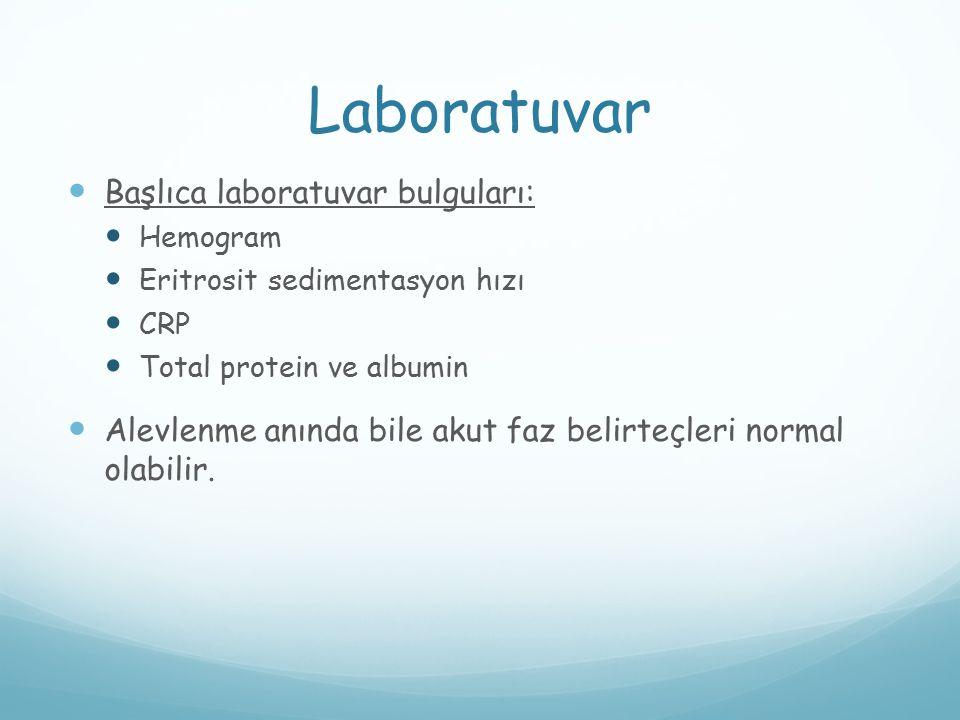 Laboratuvar Başlıca laboratuvar bulguları: Hemogram Eritrosit sedimentasyon hızı CRP Total protein ve albumin Alevlenme anında bile akut faz belirteçl