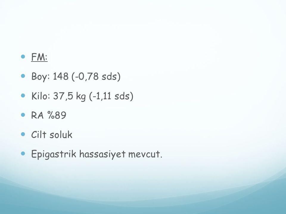 FM: Boy: 148 (-0,78 sds) Kilo: 37,5 kg (-1,11 sds) RA %89 Cilt soluk Epigastrik hassasiyet mevcut.