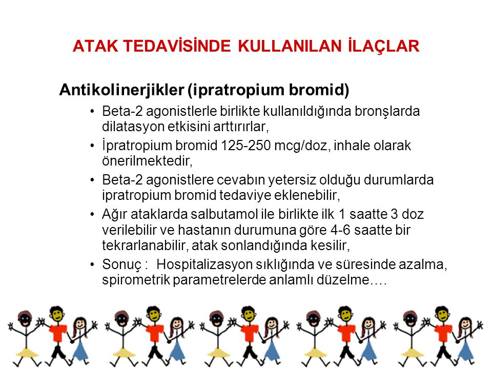 ATAK TEDAVİSİNDE KULLANILAN İLAÇLAR Antikolinerjikler (ipratropium bromid) Beta-2 agonistlerle birlikte kullanıldığında bronşlarda dilatasyon etkisini
