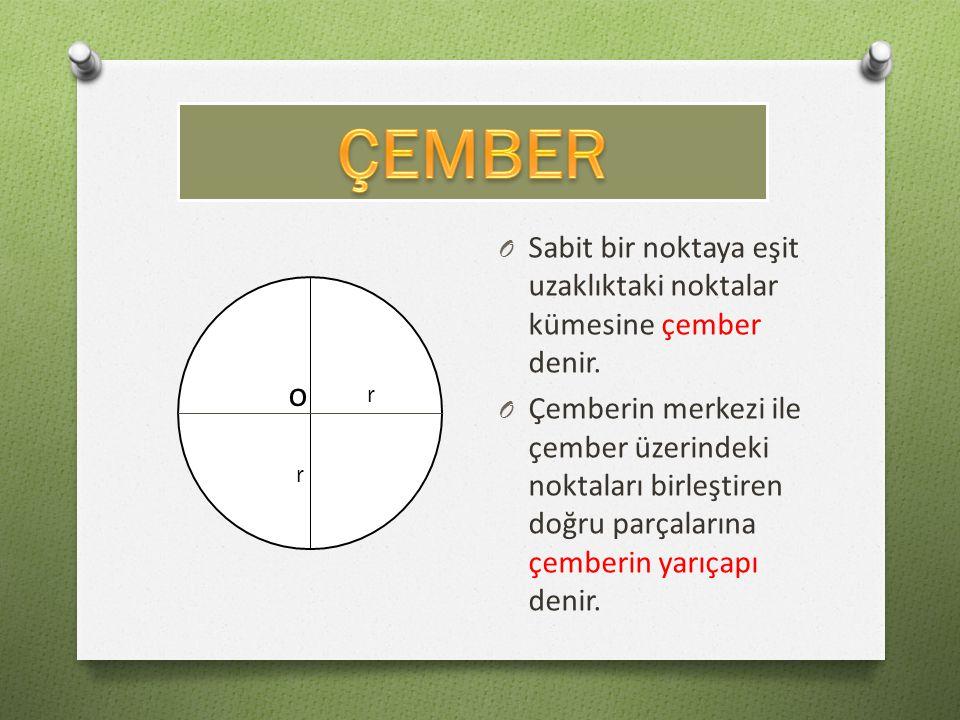 O Sabit bir noktaya eşit uzaklıktaki noktalar kümesine çember denir. O Çemberin merkezi ile çember üzerindeki noktaları birleştiren doğru parçalarına