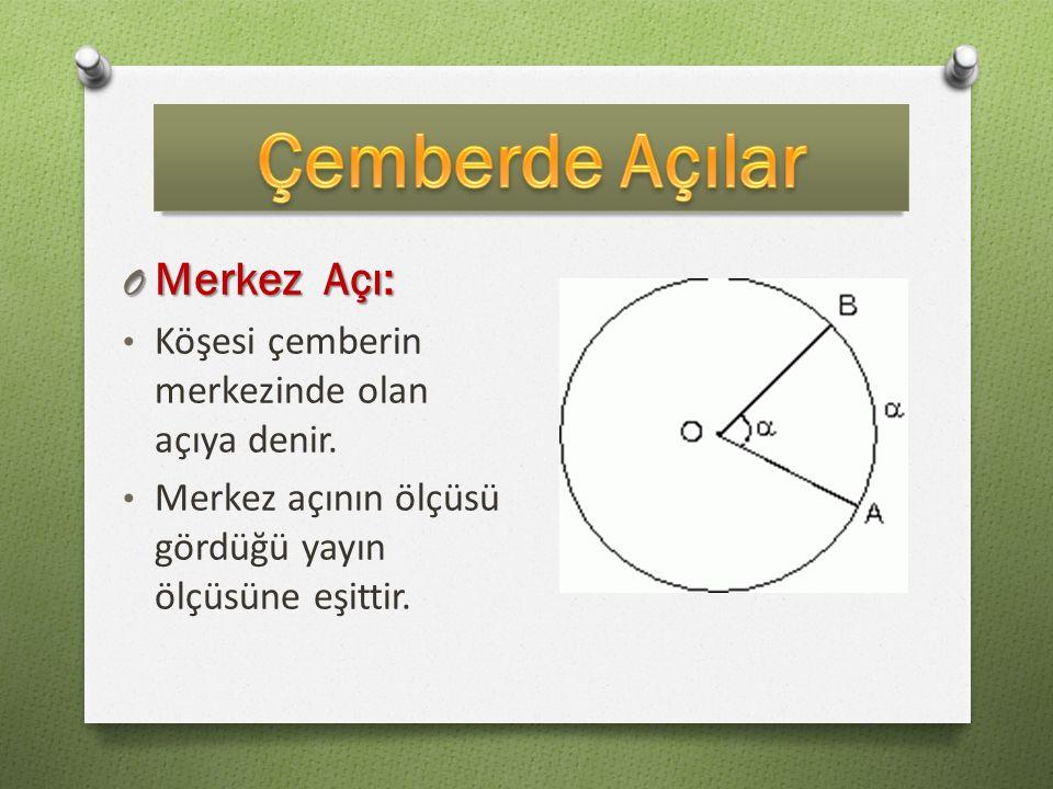 O Merkez Açı: Köşesi çemberin merkezinde olan açıya denir. Merkez açının ölçüsü gördüğü yayın ölçüsüne eşittir.