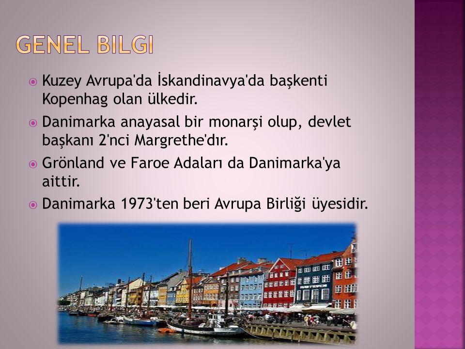  Kuzey Avrupa'da İskandinavya'da başkenti Kopenhag olan ülkedir.  Danimarka anayasal bir monarşi olup, devlet başkanı 2'nci Margrethe'dır.  Grönlan