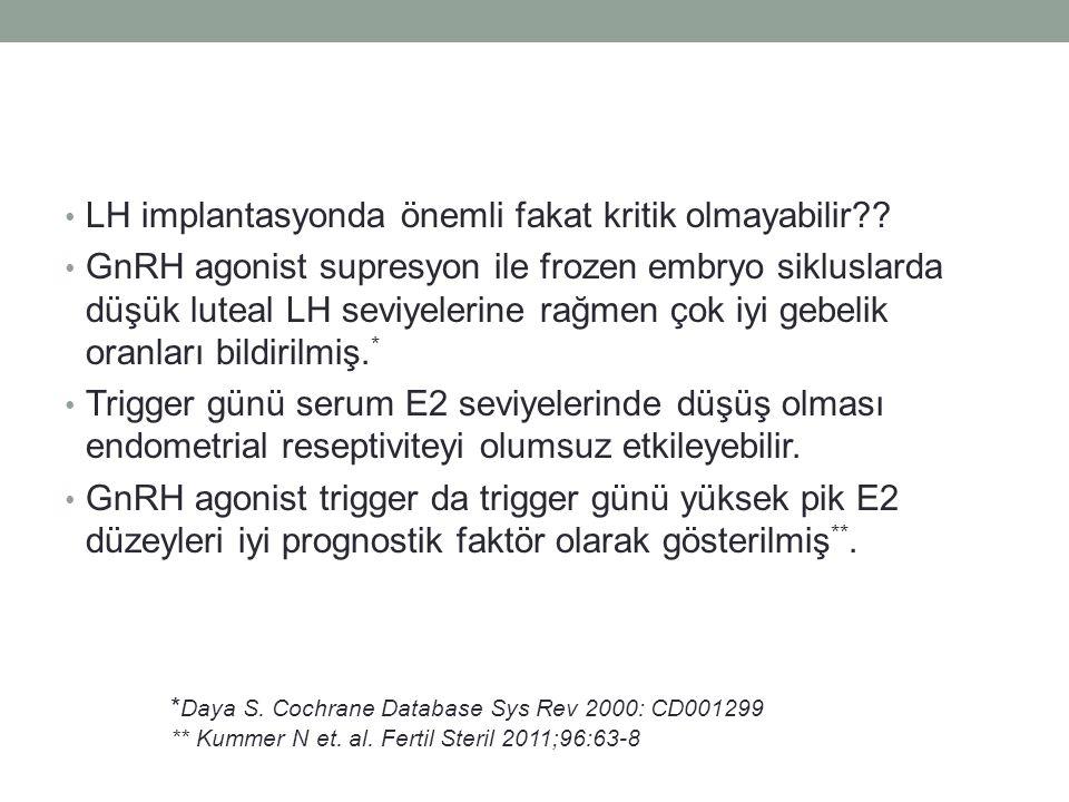 LH implantasyonda önemli fakat kritik olmayabilir?? GnRH agonist supresyon ile frozen embryo sikluslarda düşük luteal LH seviyelerine rağmen çok iyi g