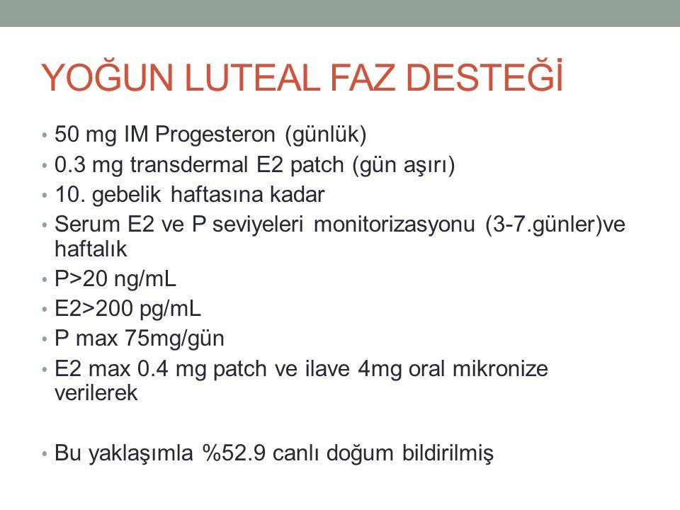 YOĞUN LUTEAL FAZ DESTEĞİ 50 mg IM Progesteron (günlük) 0.3 mg transdermal E2 patch (gün aşırı) 10. gebelik haftasına kadar Serum E2 ve P seviyeleri mo