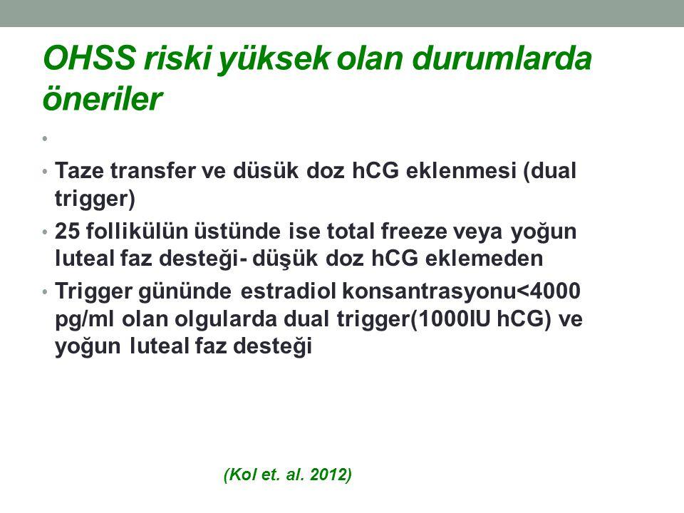 OHSS riski yüksek olan durumlarda öneriler Taze transfer ve düsük doz hCG eklenmesi (dual trigger) 25 follikülün üstünde ise total freeze veya yoğun l