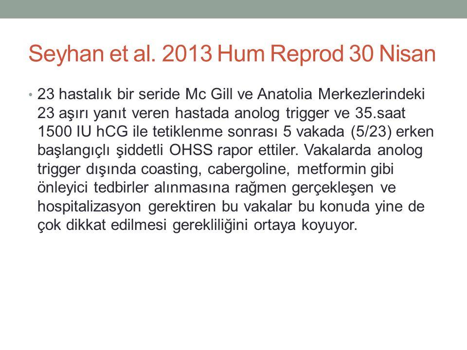 Seyhan et al. 2013 Hum Reprod 30 Nisan 23 hastalık bir seride Mc Gill ve Anatolia Merkezlerindeki 23 aşırı yanıt veren hastada anolog trigger ve 35.sa