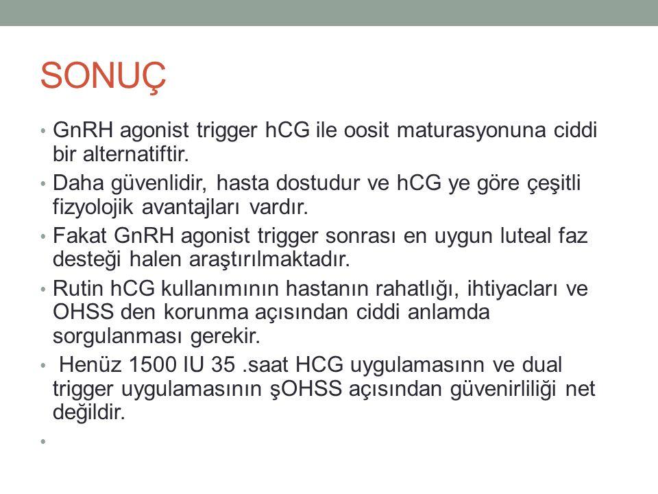 SONUÇ GnRH agonist trigger hCG ile oosit maturasyonuna ciddi bir alternatiftir. Daha güvenlidir, hasta dostudur ve hCG ye göre çeşitli fizyolojik avan