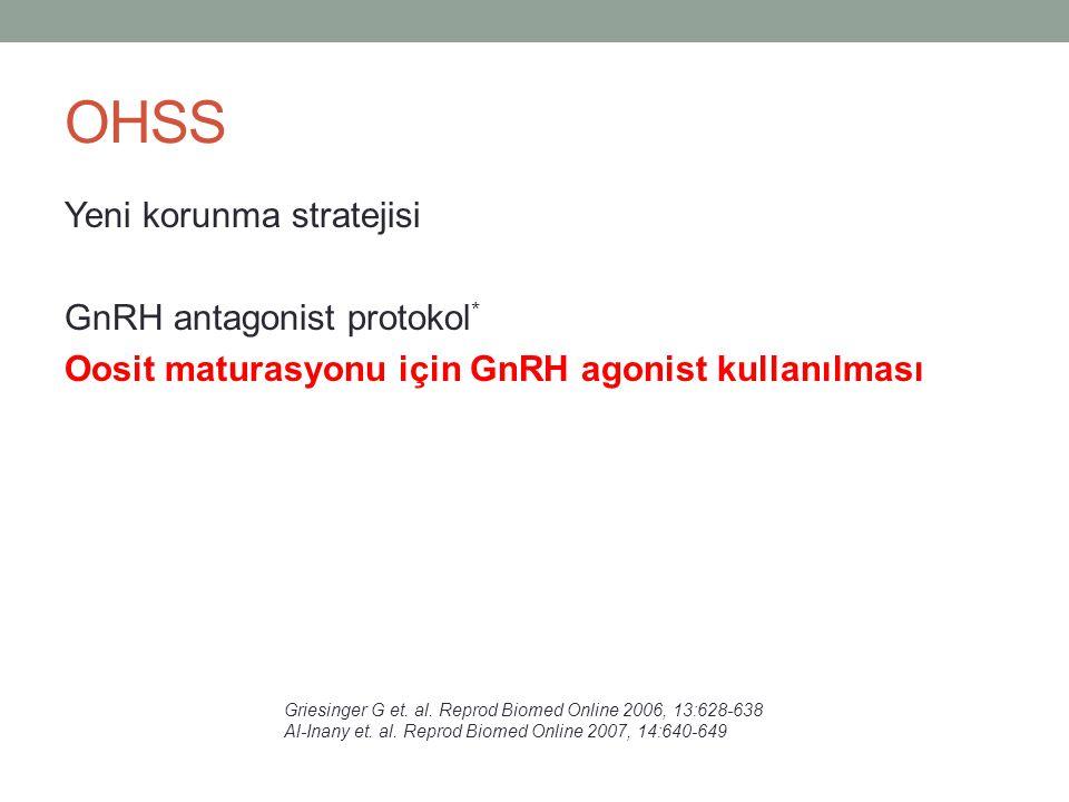 OHSS Yeni korunma stratejisi GnRH antagonist protokol * Oosit maturasyonu için GnRH agonist kullanılması Griesinger G et. al. Reprod Biomed Online 200