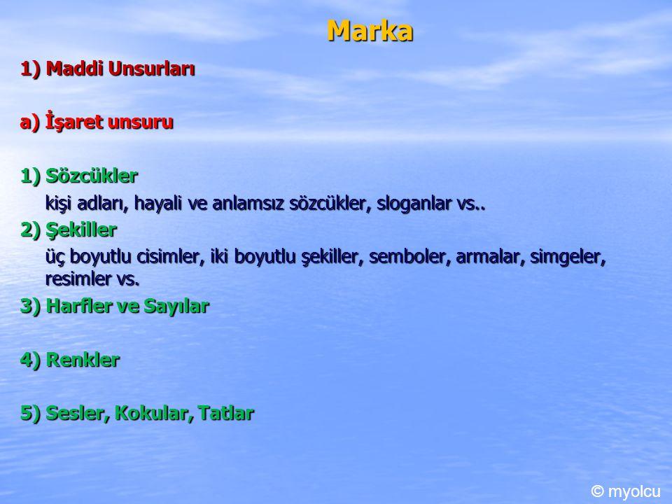 Marka 1) Maddi Unsurları a) İşaret unsuru 1) Sözcükler kişi adları, hayali ve anlamsız sözcükler, sloganlar vs..